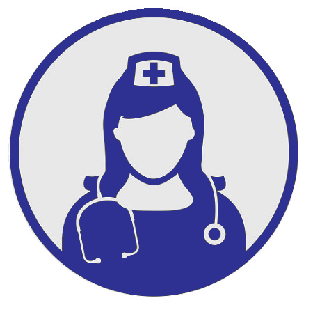 Head and shoulders graphic of a female nurse