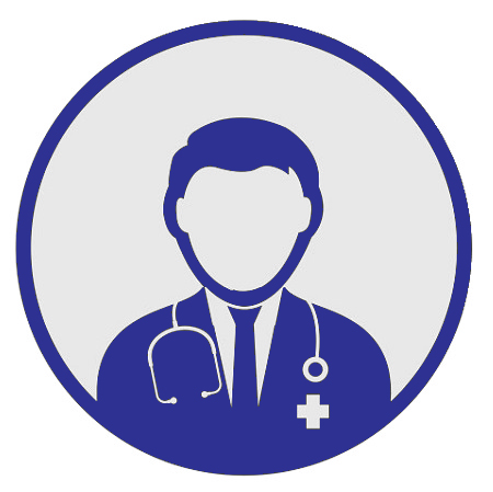 Head and shoulders graphic of a male doctor