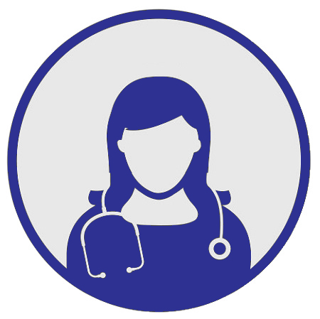 Head and shoulders graphic of a female doctor